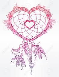 Heart Shaped Dream Catchers Hand Drawn Romantic Drawing Of A Heart Shaped Dream Catcher 1