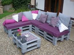 Creative Idea : Backyard Design With L Shaped Grey Pallet Wood Bench With  Purple Sitting Cushions Also Grey Cushions And Square Grey Pallet Coffee  Table DIY ...