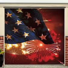 Flag And Fireworks Garage Door Mural