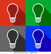 vector square blue icon lighting bulb. square icon button with a light bulb inside and shade available in four colors blue vector lighting r