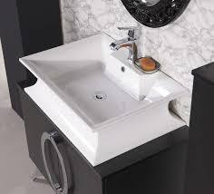 Single Vessel Sink Bathroom Vanity Stylish Modern Bathroom Vanity With Wooden Framed Added Two