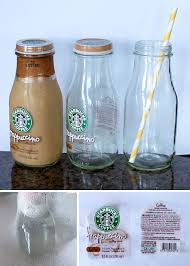 how to take labels off of frappuccino bottles