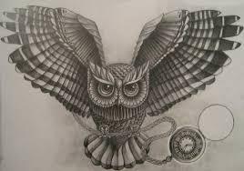 эскиз тату фото сова с часами на цепочке татуировки и эскизы совы