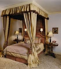 Brown Canopy Bed with Drapery Curtain in Girls Bedroom Design Ideas ...