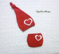 Newborn To 3 Month Old Baby Girl Heart Stocking Hat And Diaper Cover Set Red And White