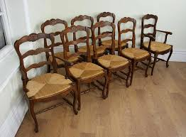 8 french oak ladder back dining chairs c 1910