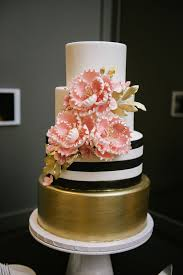 Modern Black White And Gold Wedding Cake With Pink Sugar Flowers