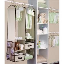 white closet organizer with hanging shelves and hanger bar for baby closet idea