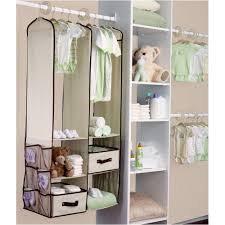 white closet organizer with hanging shelves and hanger bar for baby closet idea