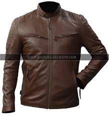 cafe racer vintage retro motorcycle mens biker waxed brown real leather jacket