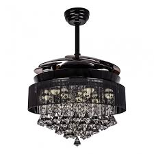 46 inch modern led crystal chandelier ceiling fan with lights and remote fandelier retractable blades
