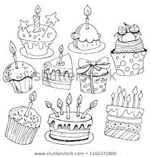 Set Sketches Baking Birthday Cakes Desserts Stock Vector Royalty