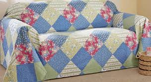 country style calico patchwork chair cover furniture throw 90 l x 70 w cotton 780437476509
