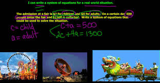 in this example you have your two equations that is found in the real world problem in this example you could easily use substitution