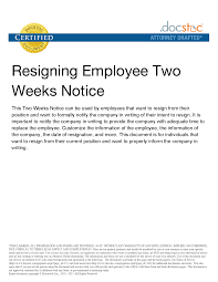 best photos of week notice to employer two week notice two 2 week notice letter sample