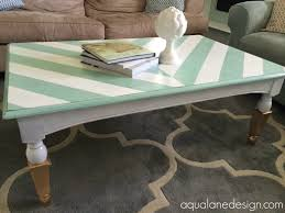 aqua and white herringbone coffee table with gold dipped legs makeover with polyshades chalk paint old