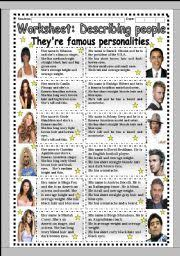worksheet describing famous people workheet n  english worksheet worksheet worksheet describing famous people