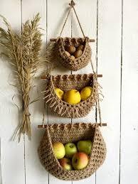 hanging fruit basket boho style three