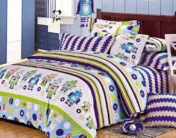 Furniture Bedroom 100 Cotton MineCraft Bedding Sets Boys Robot
