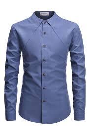 Mens Design Dress Shirts Light Blue Non Collar Designer Long Sleeved Casual Dress Shirts
