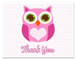 Pink Baby Shower Thank You CardsOwl Baby Shower Thank You Cards