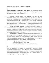 Make A Menu For A Restaurant Menu Planning For A Restaurant