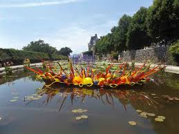 this is one view of artist dale chihuly s installations in biltmore s italian garden with the