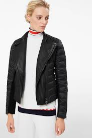 amy down biker jacket in black