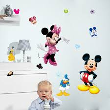 mickey minnie mouse cartoon wall stickers for kids room decorations wall art removable pvc comic animal decals zooyoo1437