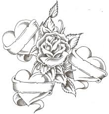 hearts and rose colouring pages page 2