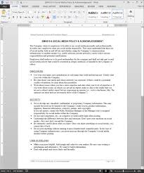 Employee Acknowledgement Form Template Employee Social Media Policy Acknowledgement Template Emh510 4