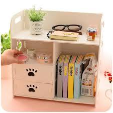 DIY Modern White Wooden Storage Box Desk Organizer For Cosmetics,Desktop  Storage Shelf Cabinet Wood