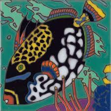 art tile designs. Fine Tile Trigger Fish  Hand Painted Art Tile With Designs A