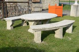 composite stone table and two french louis the 14th style benches dated late 19th century