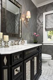 mirrored vanity tray powder room traditional with mercury glass gray wallpaper mirrored vanity