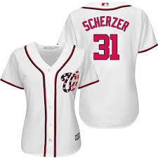 Max Washington Scherzer Women's 2019 Nationals White Jersey Coolbase
