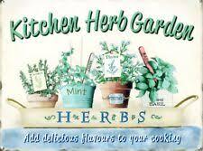 tin sign kitchen herb garden cream 40 x 30cm