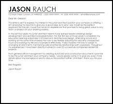 Architect Cover Letter Architect Cover Letter Junior Sample