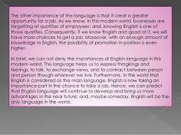 the importance of the english language language