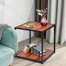 28long aurelio coffee table square brass frame two tone varied tan stone top. Gymax 20 Metal Square Side End Table Sofa Coffee Tea Stand Bottom W 2 Tier Shelf On Sale Overstock 23061300
