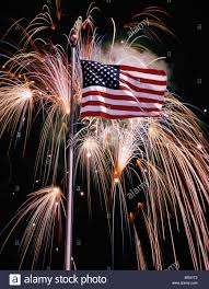 1970s American Flag And Fireworks Stock Photo 31568434 Alamy