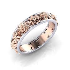 sweet <b>rose</b> gold <b>flower hollow</b> engagement ring wedding ring at ...