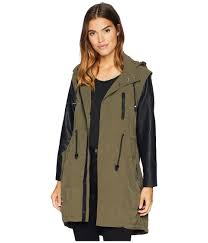 blank nyc hooded olive green and vegan leather sleeves jacket in similar but diffe view fullscreen