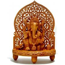 Small Picture Wooden Shrine Ganesha Statue Great as Home Decor or Gifts