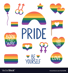 Pride month hand drawn icons tolerance day card Vector Image