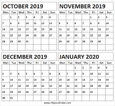 Printable October 2019 January 2020 Calendar Print Free
