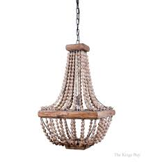 iron frame wood wooden beaded square chandelier light fixture vintage style