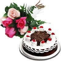 send cakes and flowers to guntur send 6 mix roses and 1 2 kg