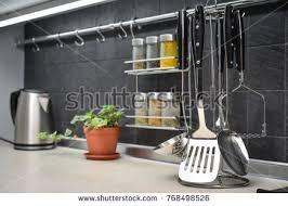 modern kitchen utensils. Kitchen Utensils On Work Top In Modern Closeup