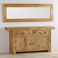 natural solid oak mirror in light mango wood mantis range